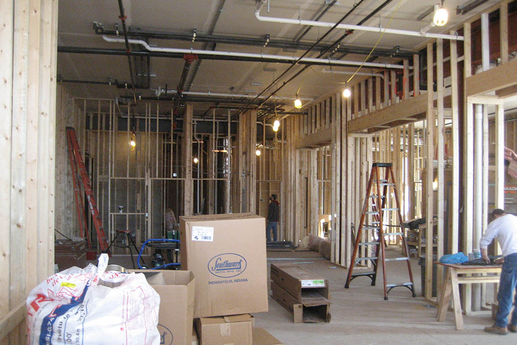 Randolph building interior renovation – building has been nearly gutted.