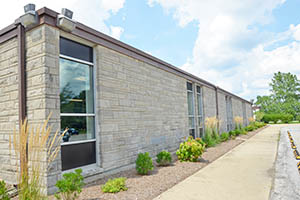 The Brown School has sidewalks and plenty of windows.