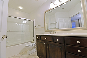 The Kirkwood, Imperial floor plan, offers a spacious bathroom with built in shelves.
