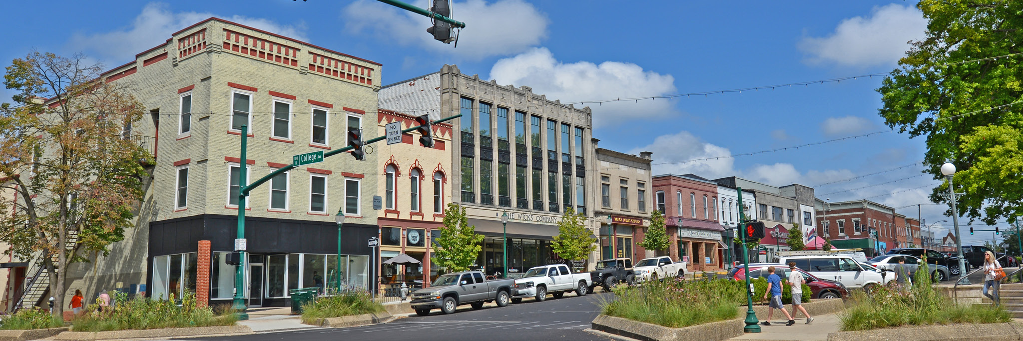 W. 6th Street shops on Bloomington's Historic Downtown Square.