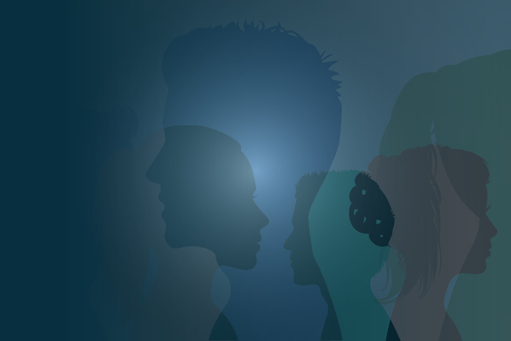 Silhouette of diverse people.