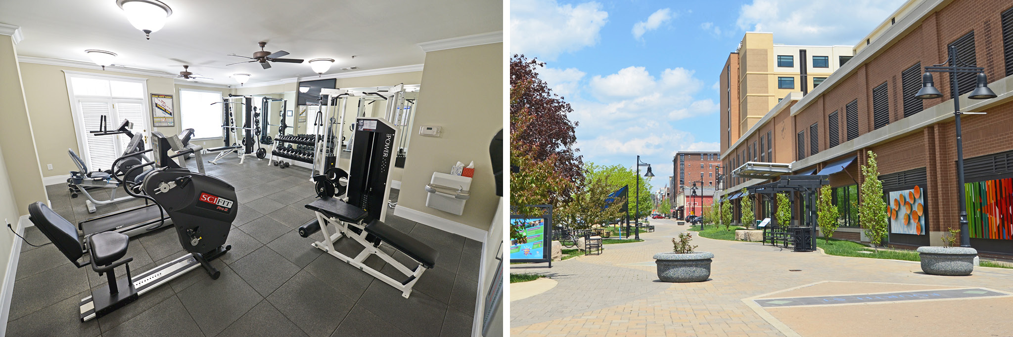 Residents can workout in the private fitness center or stroll the B-Line Trail.